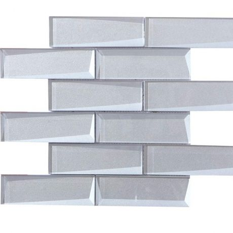 Crystal Glass Mosaic Tile Square Silver Beveled Glossy 48x148mm