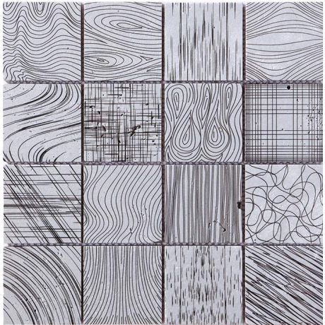 Silver Hand Painted Travertine Stone Mosaic Tile