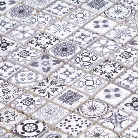 Square Black and White Moroccan Travertine Stone Mosaic Tile Small Chip