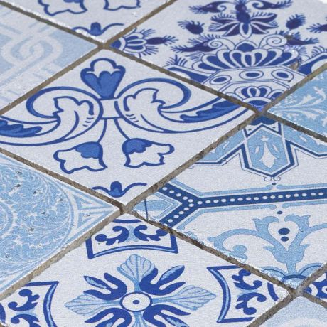 Blue and Silver Moroccan Travertine Stone Mosaic Tile