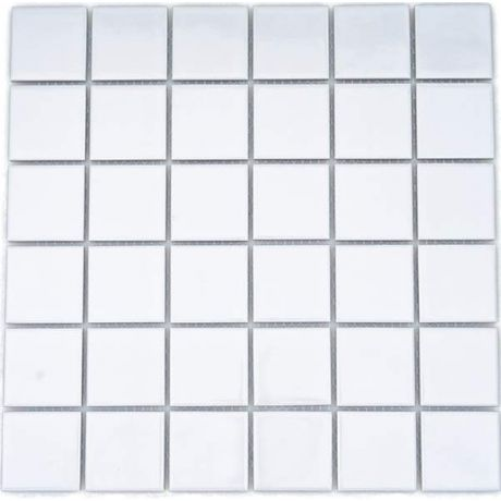 Porcelain Mosaic Tile Square White Glossy 48x48mm