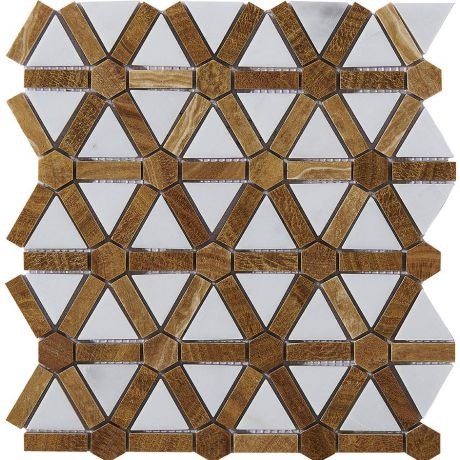 Marble Mosaic Tile  Golden Bronze White Multi-Shape Honed