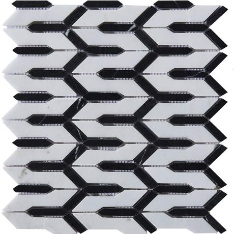 Marble Mosaic Tile Black White Multi-Shape Honed