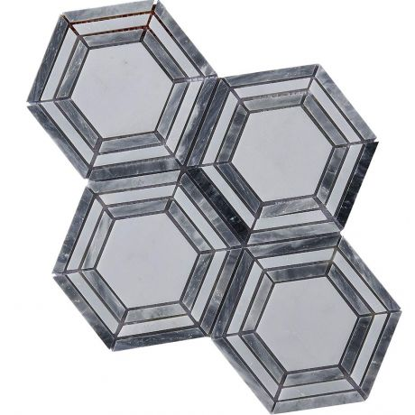 Marble Mosaic Tile Grey White Hexagon Honed