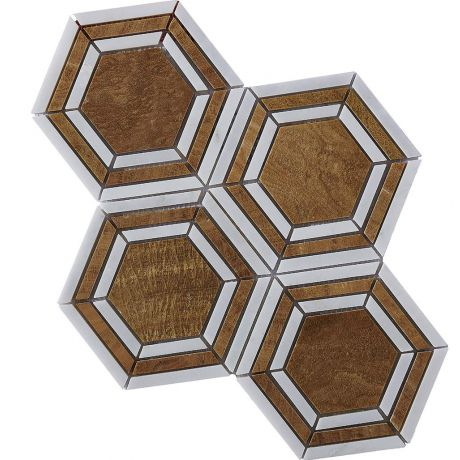 Marble Mosaic Tile Bronze White Multi-Shape Honed