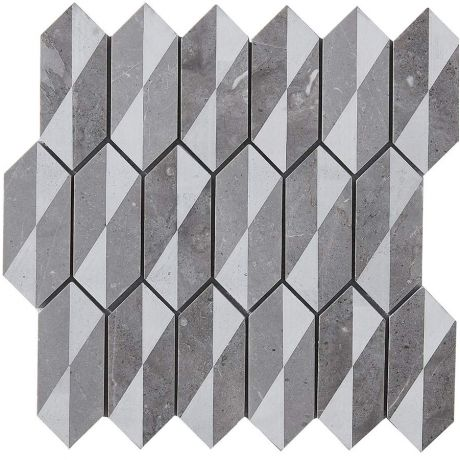 Marble Mosaic Tile Specialty Grey White Laser engraving Honed