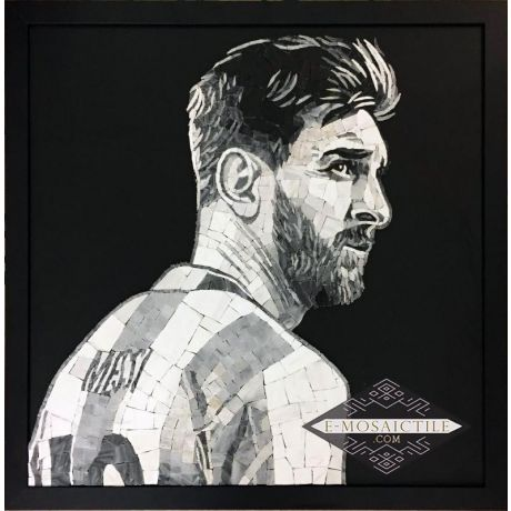 Leo Messi Argentina 10 Black and White Mosaic Art (With Frame)