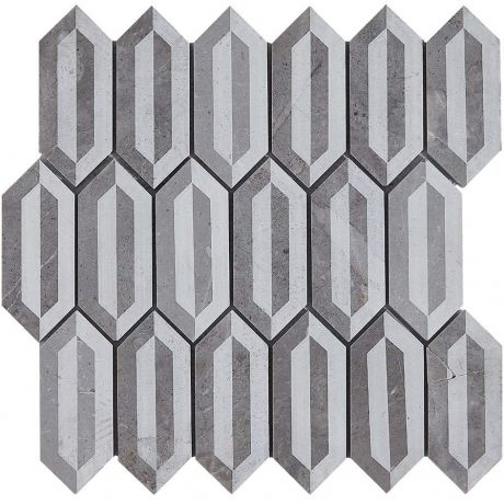 Marble Mosaic Tile Specialty Grey  Laser engraving Honed