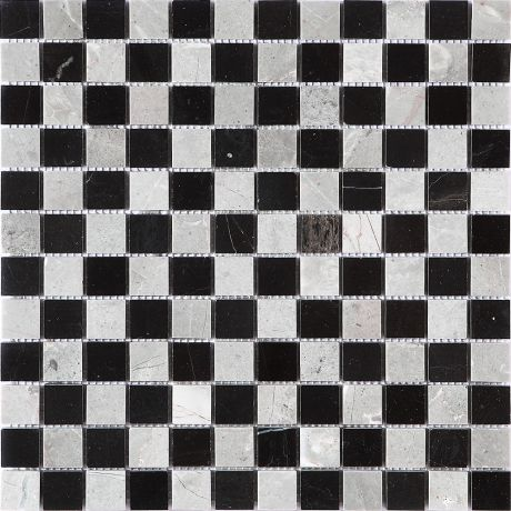 Marble Stone Mosaic Tile  Black Grey  Square Honed