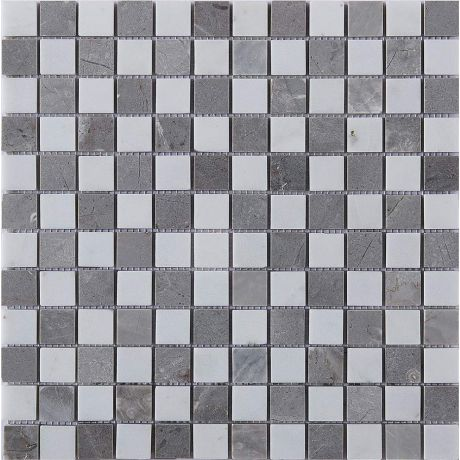 Marble Stone Mosaic Tile  Grey White Square Honed