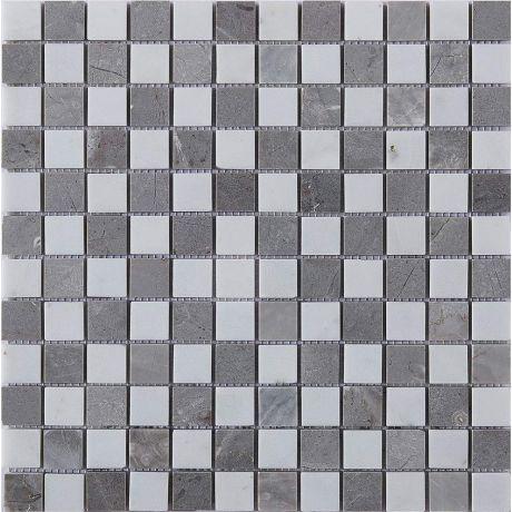 Marble Stone Mosaic Tile  Grey White Square Honed