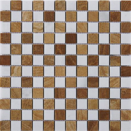 Marble Stone Mosaic Tile Golden Bronze White Square Honed