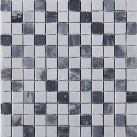 Marble Stone Mosaic Tile Grey White Black Square Honed