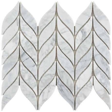 Leaf Pattern Marble Mosaic Tile Grey And White