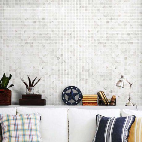 Square Jazz White Marble Stone Mosaic Tile Bath Wall and Floor Kitchen Backsplash