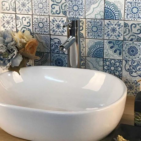 Blue Turquoise and White Moroccan Travertine Stone Mosaic Tile