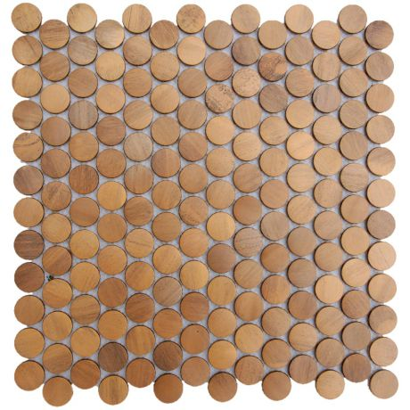 Penny Round Backsplash Copper Mosaic Tile Feature Wall Fireplace Decor