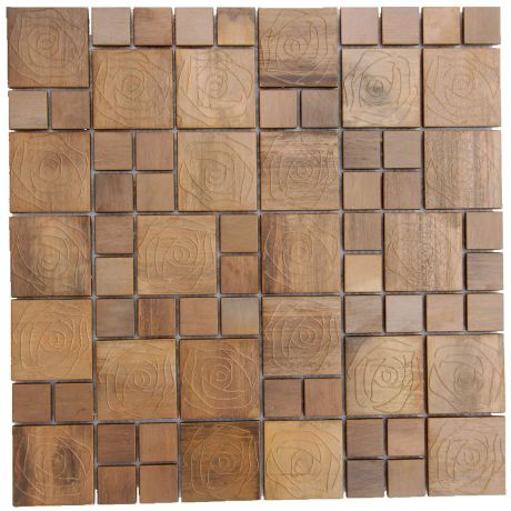 Rose Pattern Copper Mosaic Tile Square Bronze