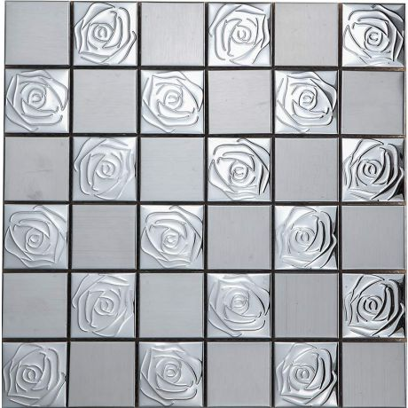 3D Stainless Steel Mosaic Tile Square Silver Flower