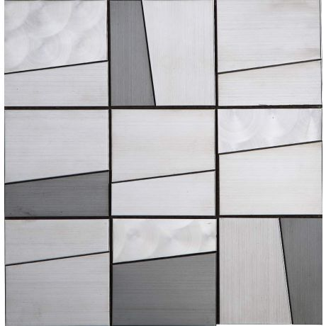 3D Stainless Steel Mosaic Tile Trapezoid  Silver