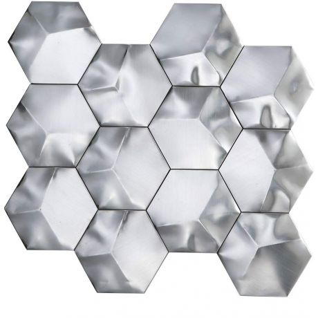 3D Stainless Steel Mosaic Tile Hexagon Silver