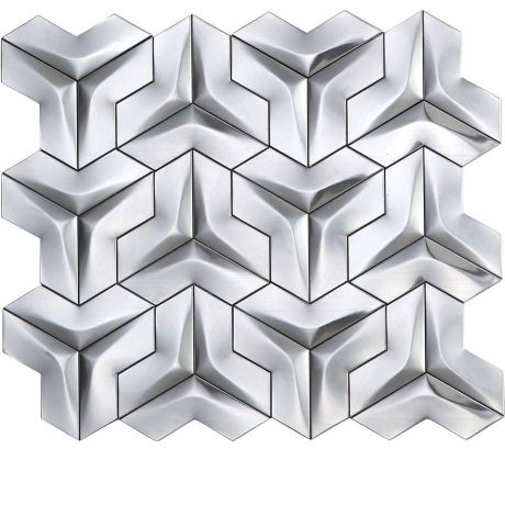 3D Stainless Steel Mosaic Tile Special Silver
