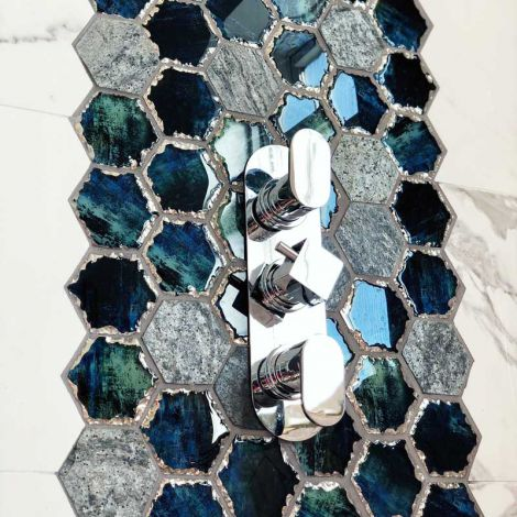 Blue Hexagon Crystal Glass Mix Dark Gray Honed Travertine Mosaic Tile