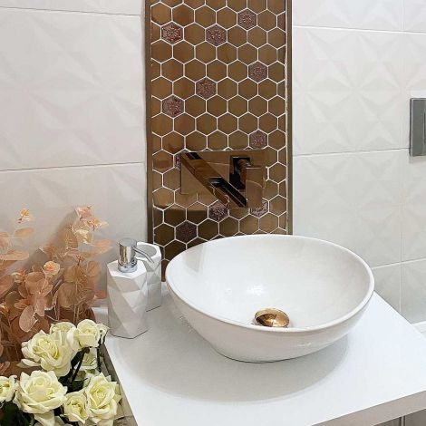 Stunning Feature Accent Wall Backsplash 3D Stainless Steel Mosaic Tile Hexagon Rose Gold Flower Pattern