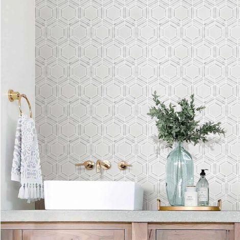 Marble Mosaic Tile Carrara White Big Hexagon Glossy Decorative