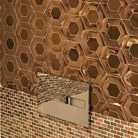 3D Rose Gold Feature Wall Glossy Copper Mosaic Tile Hexagon Backsplash