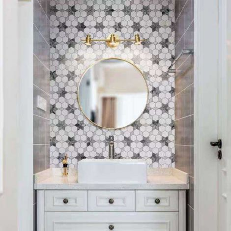 Grey Hexagonal Star Marble Mosaic Tile Kitchen Backsplash  Bathroom Wall Tiles Floor Tiles