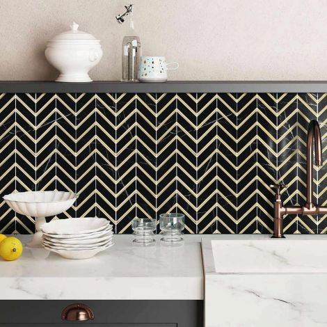 Black and Golden Chevron Marble Wall Tile Luxury Decorative Backsplash