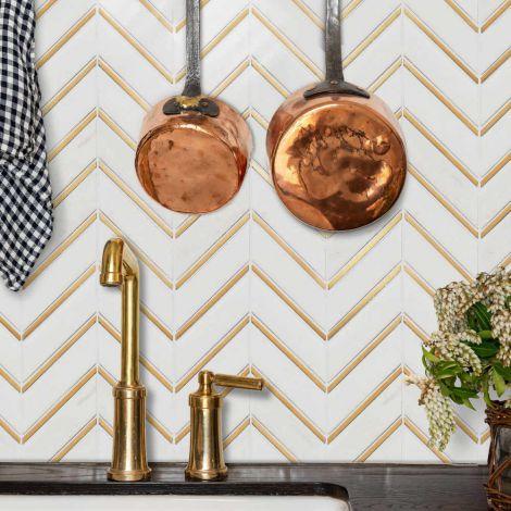 White and Golden Chevron Marble Wall Tile Luxury Decorative Backsplash