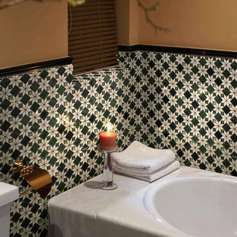 Victorian Wall Tiles Floor Tiles Indian Green and Beige Marble Mosaic Tiles Eight Pointed Star Pattern Classic Decorative