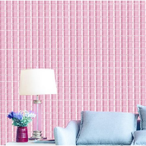 Deep Pink Crystal Glass Mosaic Tile Square