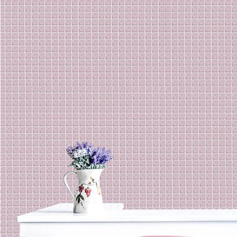 Pale Pink Crystal Glass Mosaic Tile Square