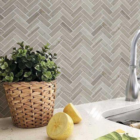 Herringbone Marble Mosaic Tile Kitchen Backsplash Bathroom Wall Tiles Floor Tiles Grey Color