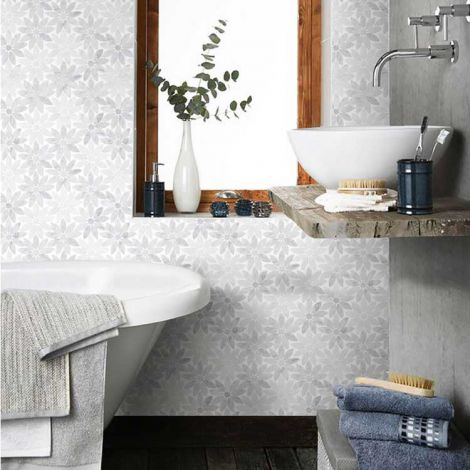 Flower Carrara White Marble Stone Bath Wall and Floor Mosaic Tile Kitchen Backsplash Multi-Shape