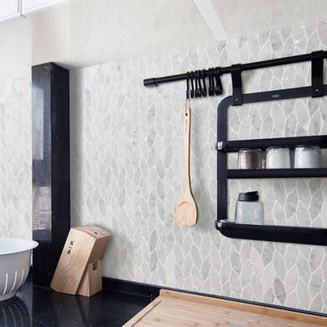 Specialty Carrara White Marble Stone Bath Wall and Floor Mosaic Tile Kitchen Backsplash