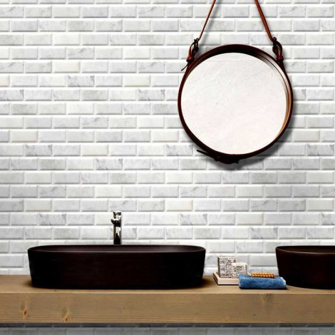 Carrara White Marble Stone Bath Wall and Floor Mosaic Tile Kitchen Backsplash Rectangle