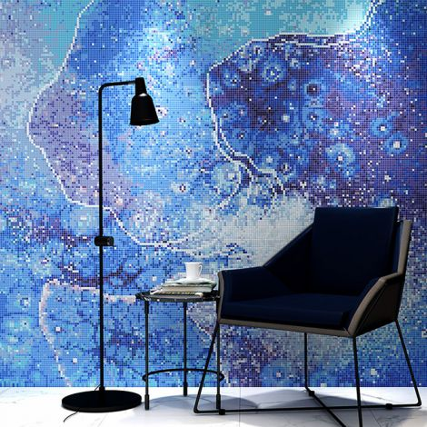 Modern Abstraction Glass Mosaic Art Feature Wall Blue Background 0.1Sq.M(1.07Sq.Ft)