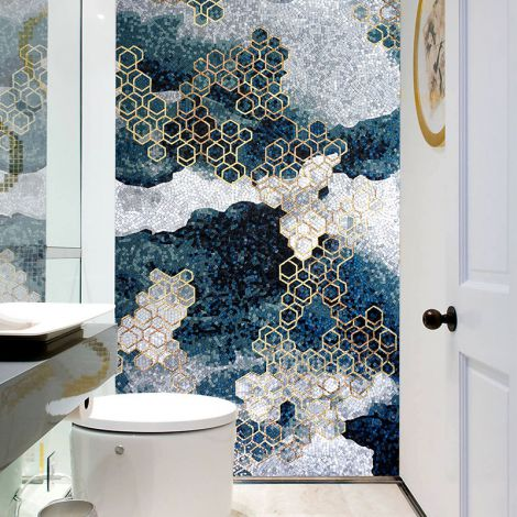 Modern Abstraction Glass Mosaic Art Golden Hexagon Patterns Feature Wall Blue Background 0.1Sq.M(1.07Sq.Ft)