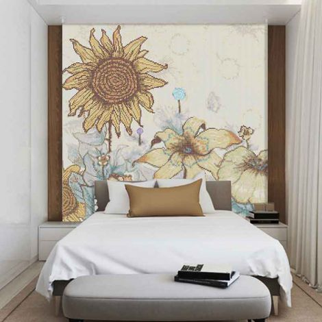 Sun Flower  Glass Mosaic Art Feature Wall Orange  Background 0.1Sq.M(1.07Sq.Ft)