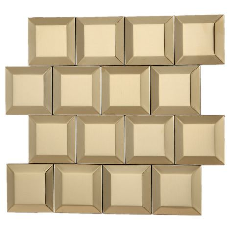 3D Stainless Steel Mosaic Tile Square Golden