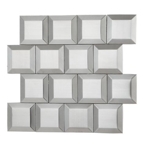 3D Stainless Steel Mosaic Tile Square Silver