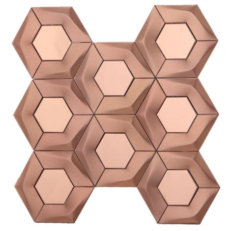 Mirror Effect 3D Rose Gold Hexagon Stainless Steel Mosaic Tile Bath Splashback Feature Wall