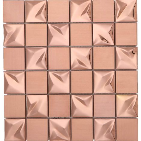 3D Rose Gold Square Stainless Steel Mosaic Tile