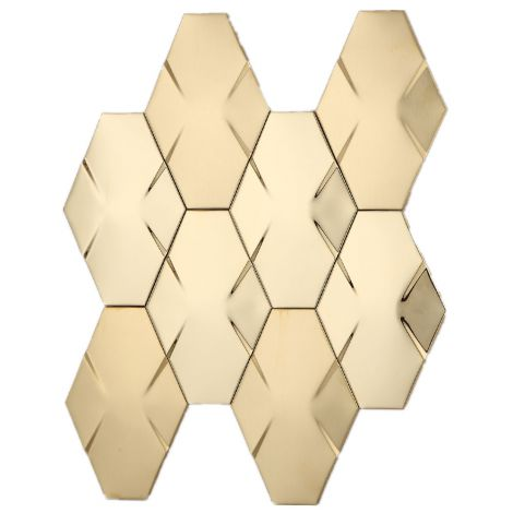 Golden 3D Diamond Stainless Steel Mosaic Tile