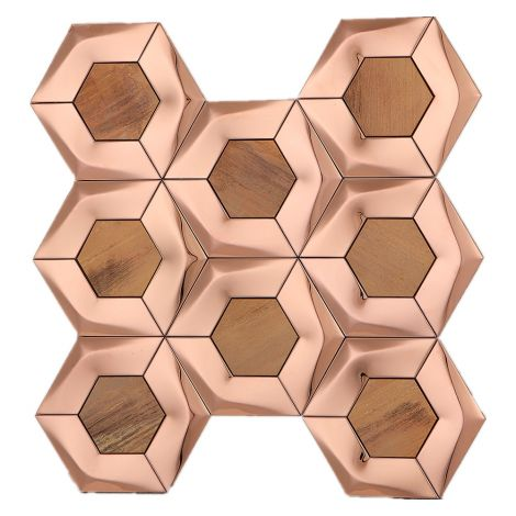 3D Rose Gold Hexagon Copper Mix Stainless Steel Mosaic Tile
