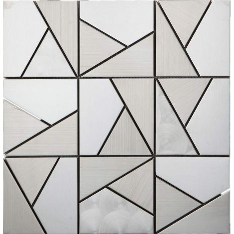 3D Stainless Steel Mosaic Tile Multi-Shape Silver
